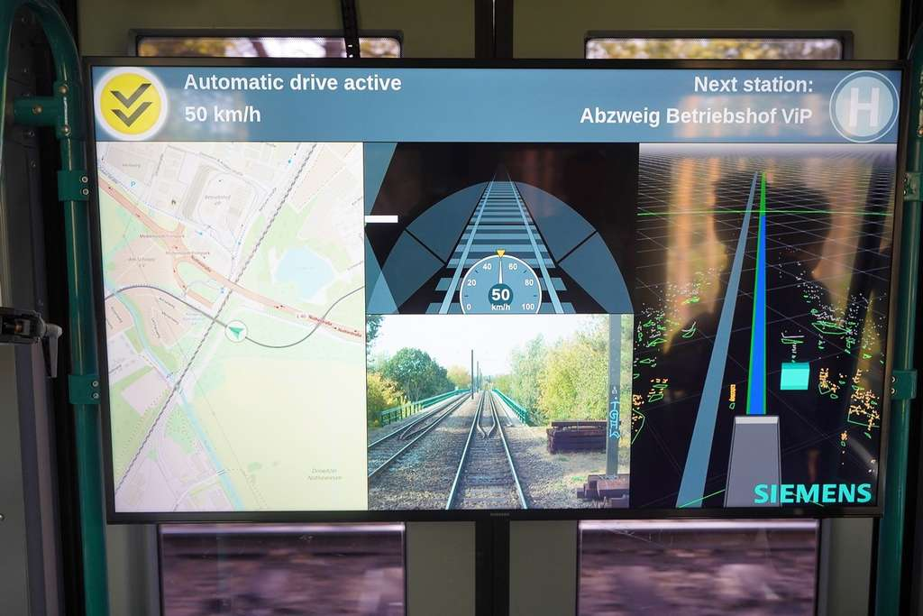 Le tableau de bord du système de conduite autonome du tramway Siemens. © Siemens Mobility