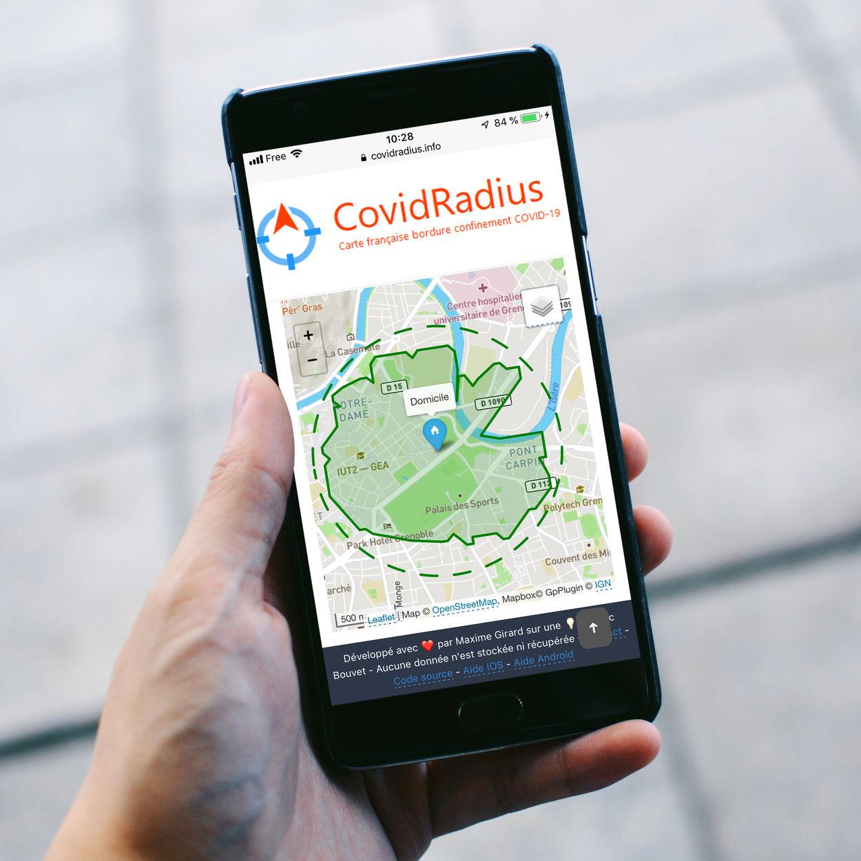L'application vue sur un smartphone